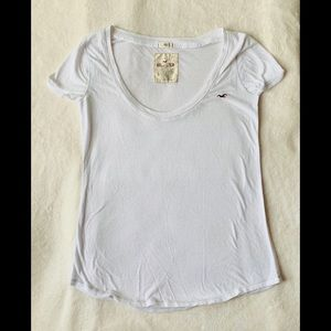 Hollister white sheer half-sleeve t-shirt size S